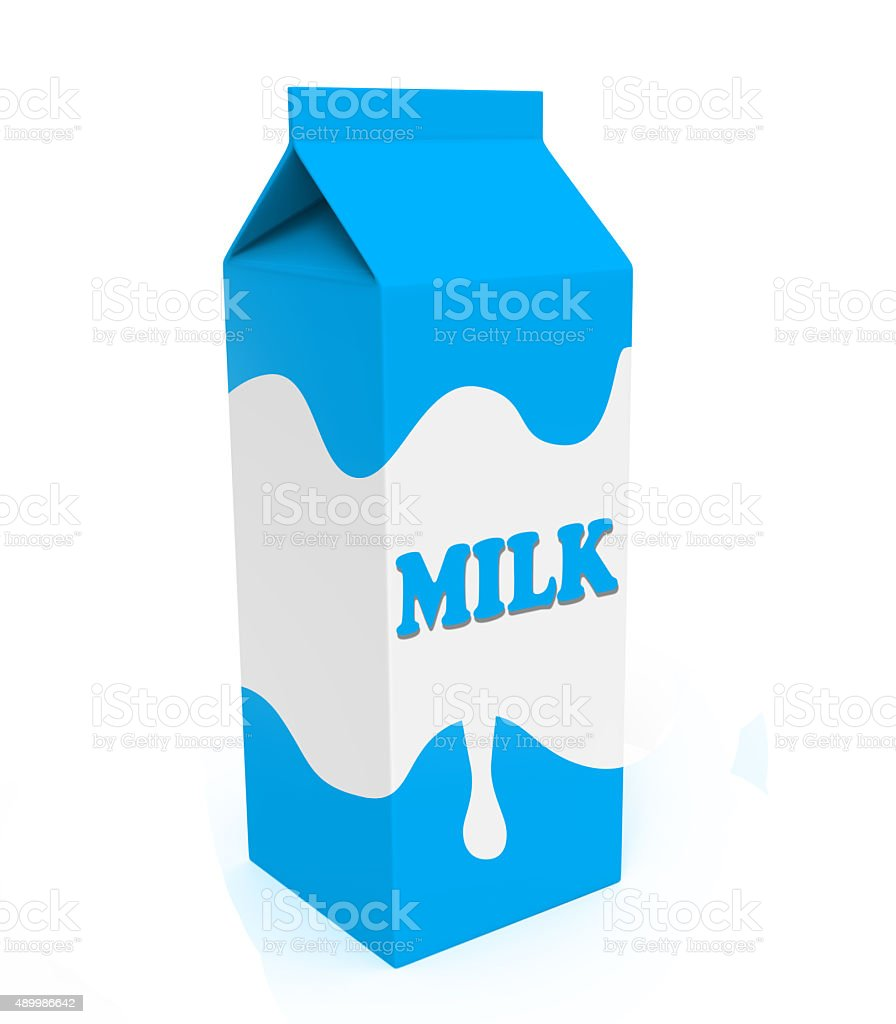 Blue and white milk box stock photo