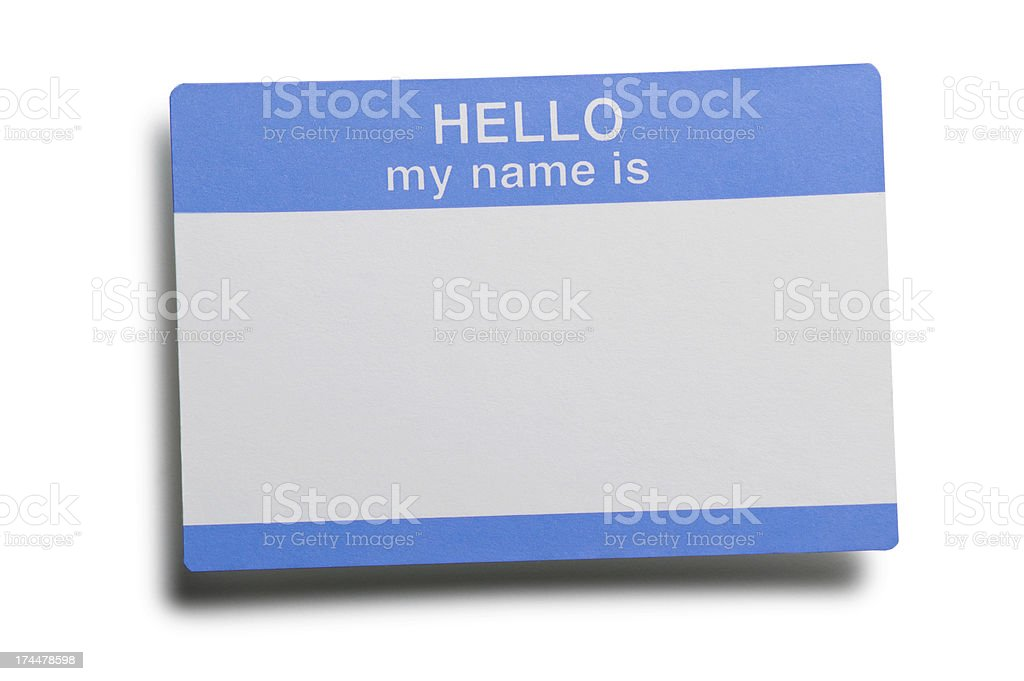 Blue and white name tag on white background stock photo
