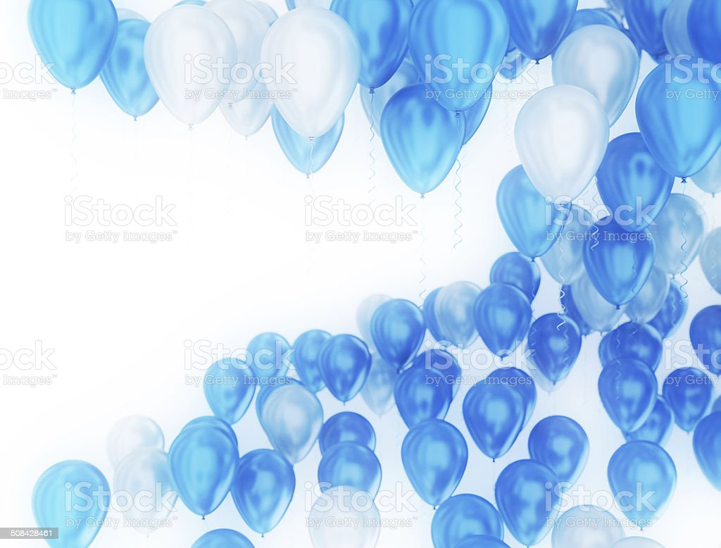 Blue and White Part Balloons stock photo