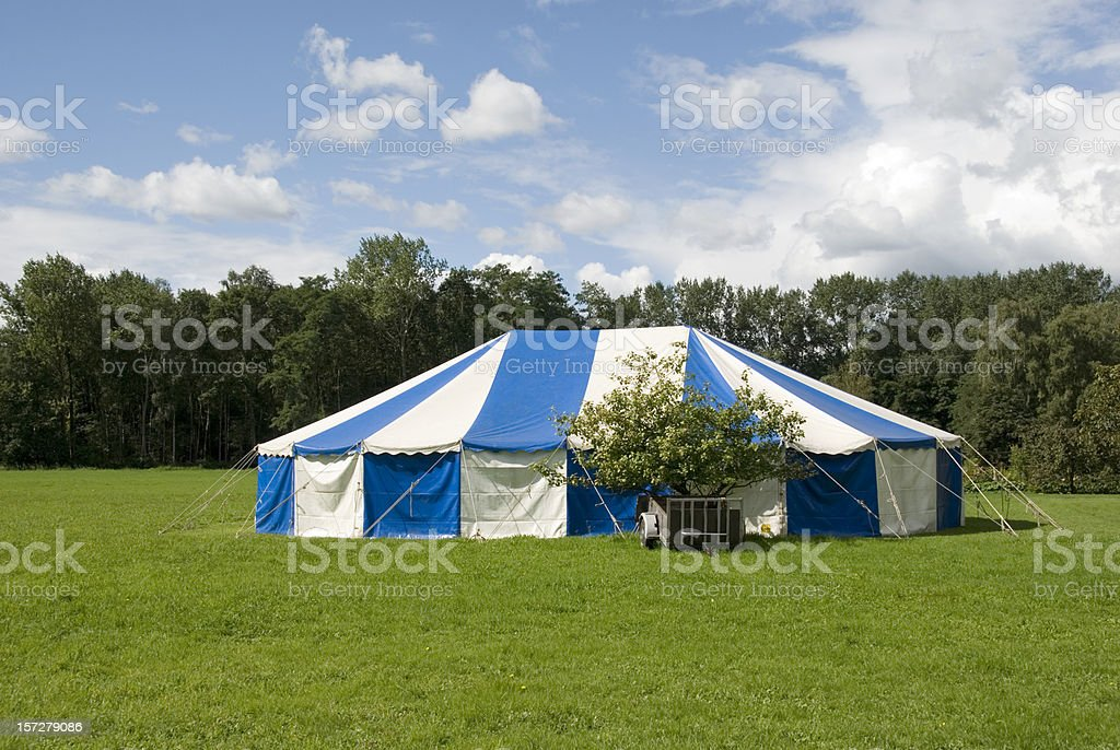 Blue and white party tent stock photo