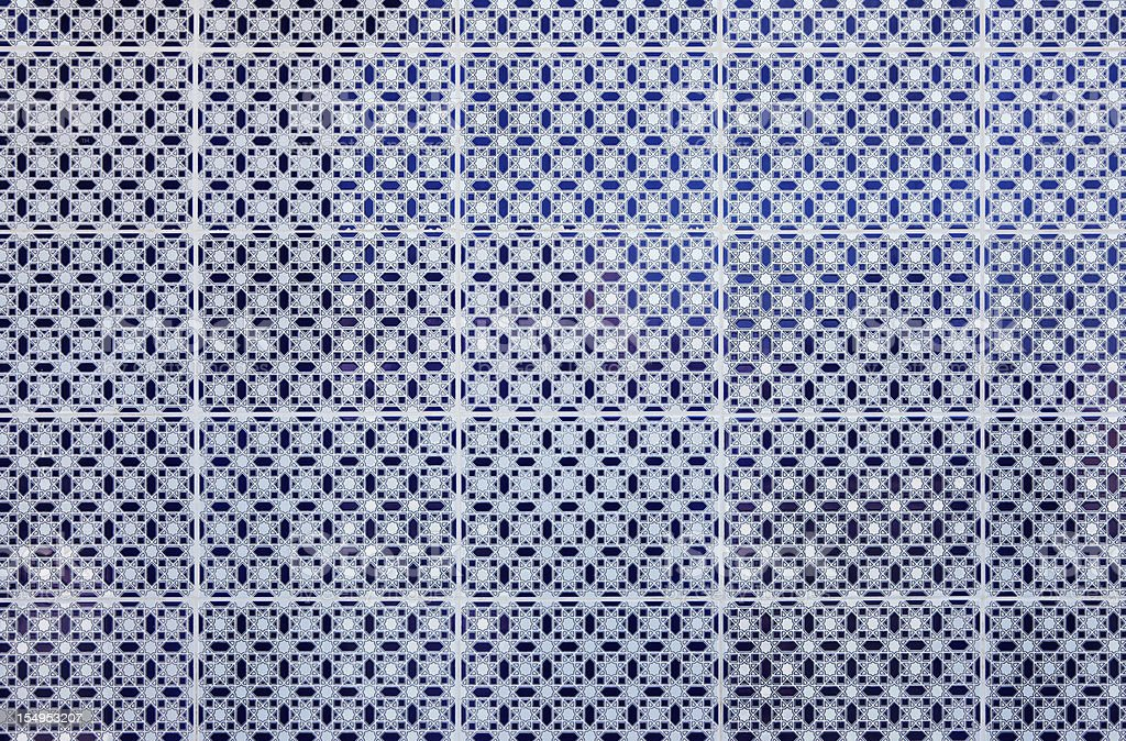 Blue and white pattern on tiles from Meknes medina, Morocco stock photo
