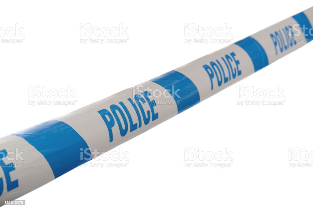 Blue and White Police Line Do Not Cross Tape Line at Angle stock photo