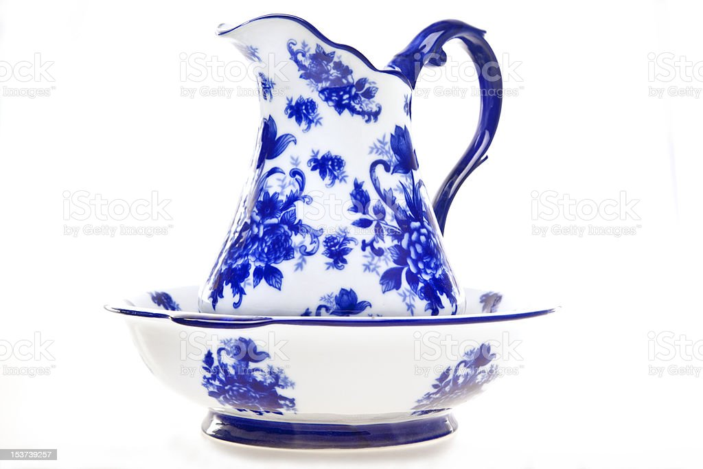 Blue and White Pottery Pitcher with Basin royalty-free stock photo