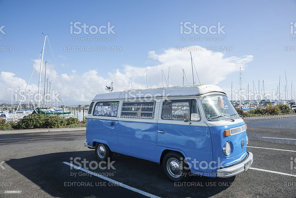 Blue and white retrop VW Kombi van, stock photo