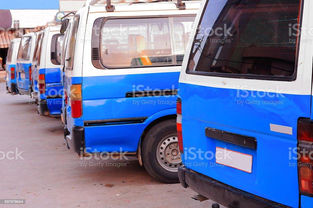 Blue and white rickshaw taxis. Mekelle-Ethiopia. 0490 stock photo