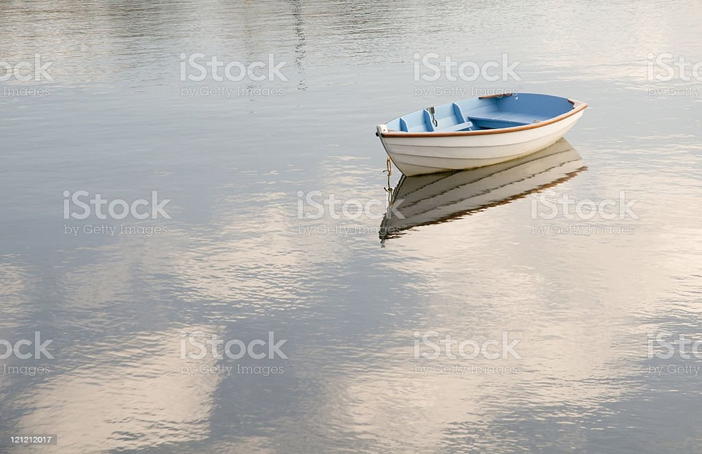 Blue and White Rowboat stock photo