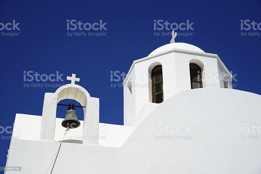 Blue and White Santorini Church Greece royalty-free stock photo