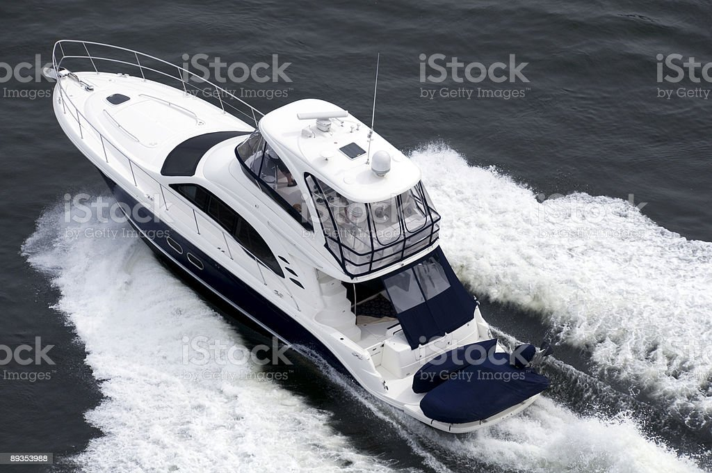 Blue and White Speedboat royalty-free stock photo