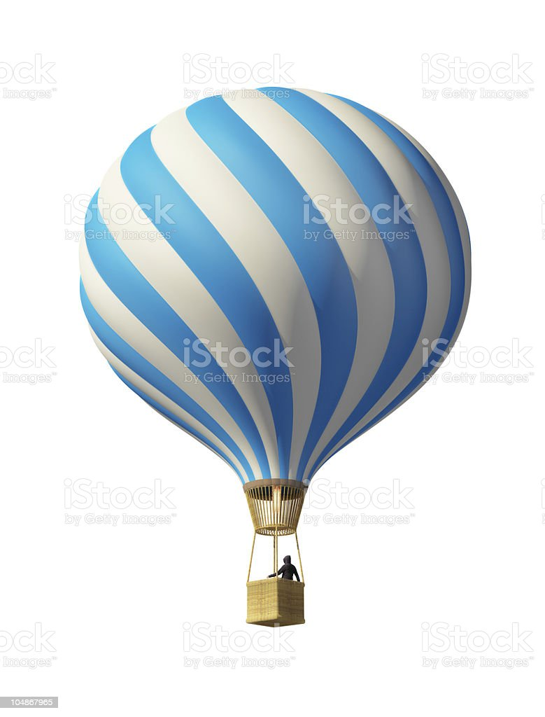 Blue and white striped hot air balloon royalty-free stock photo