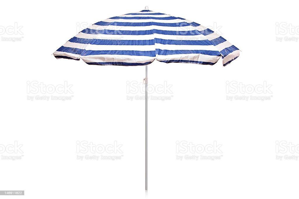 Blue and white striped umbrella stock photo