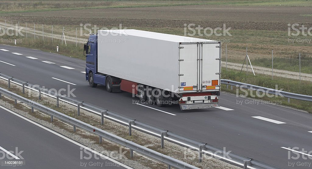 Blue and white truck stock photo