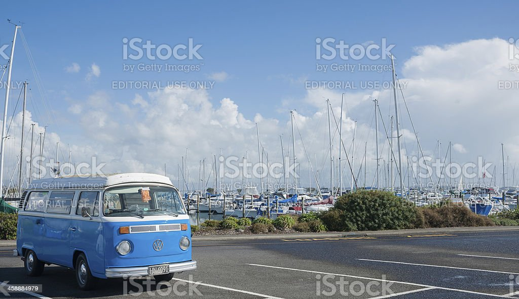 Blue and white Volkswagen Kombi stock photo