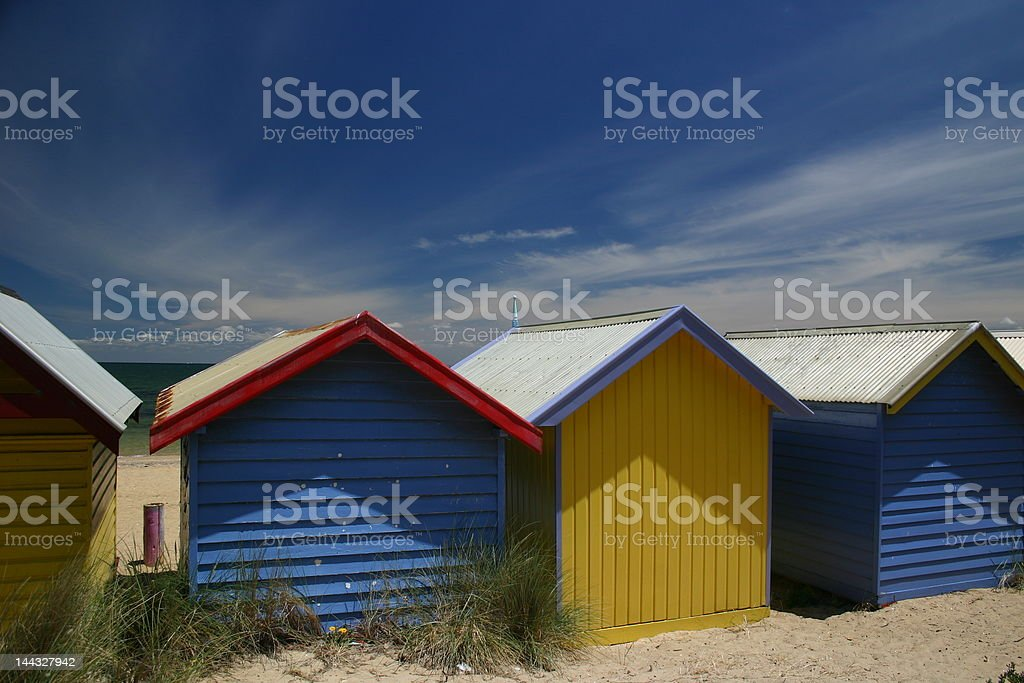 Blue and Yellow Beach Houses royalty-free stock photo