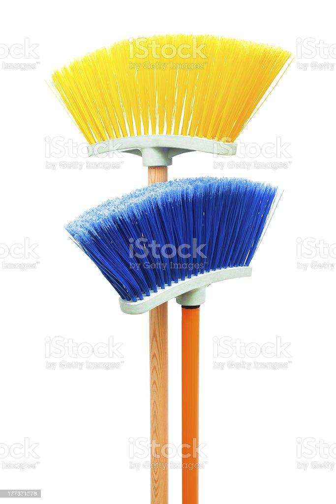 blue and yellow brush stock photo