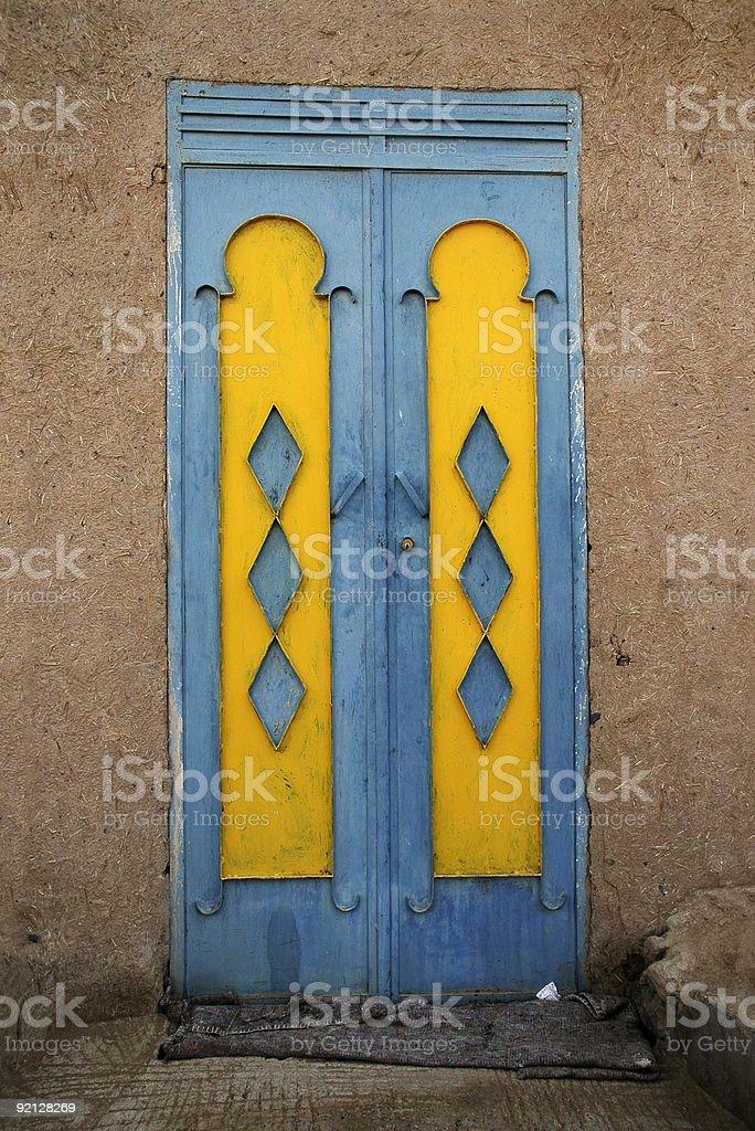 Blue and Yellow door stock photo