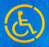Blue and yellow handicap parking sign, persons with disabilities