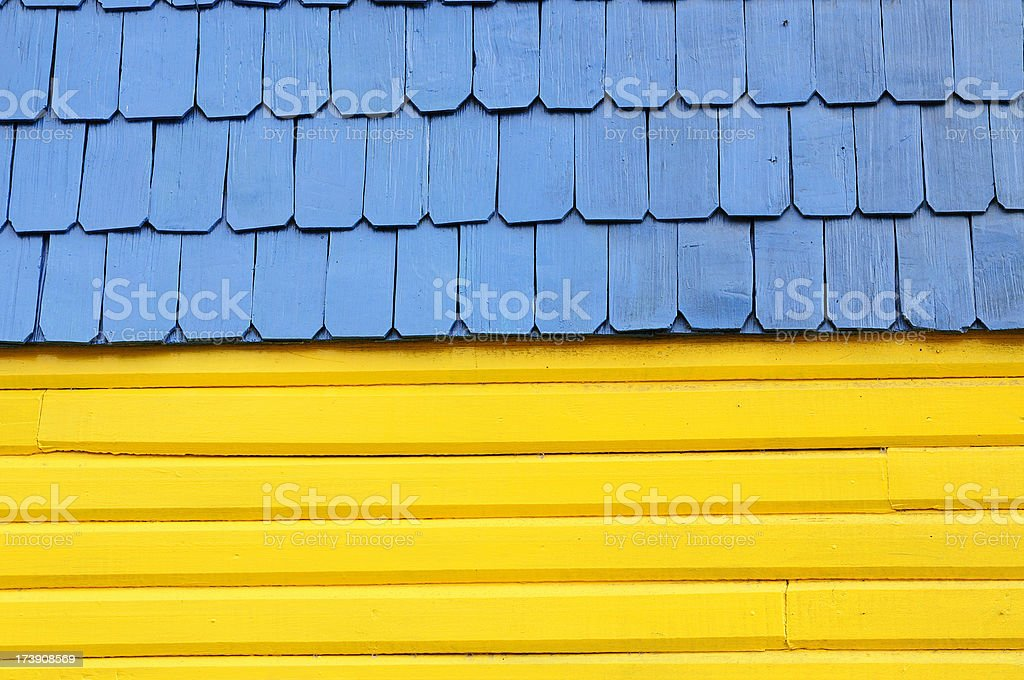 Blue and Yellow Roof Abstract royalty-free stock photo