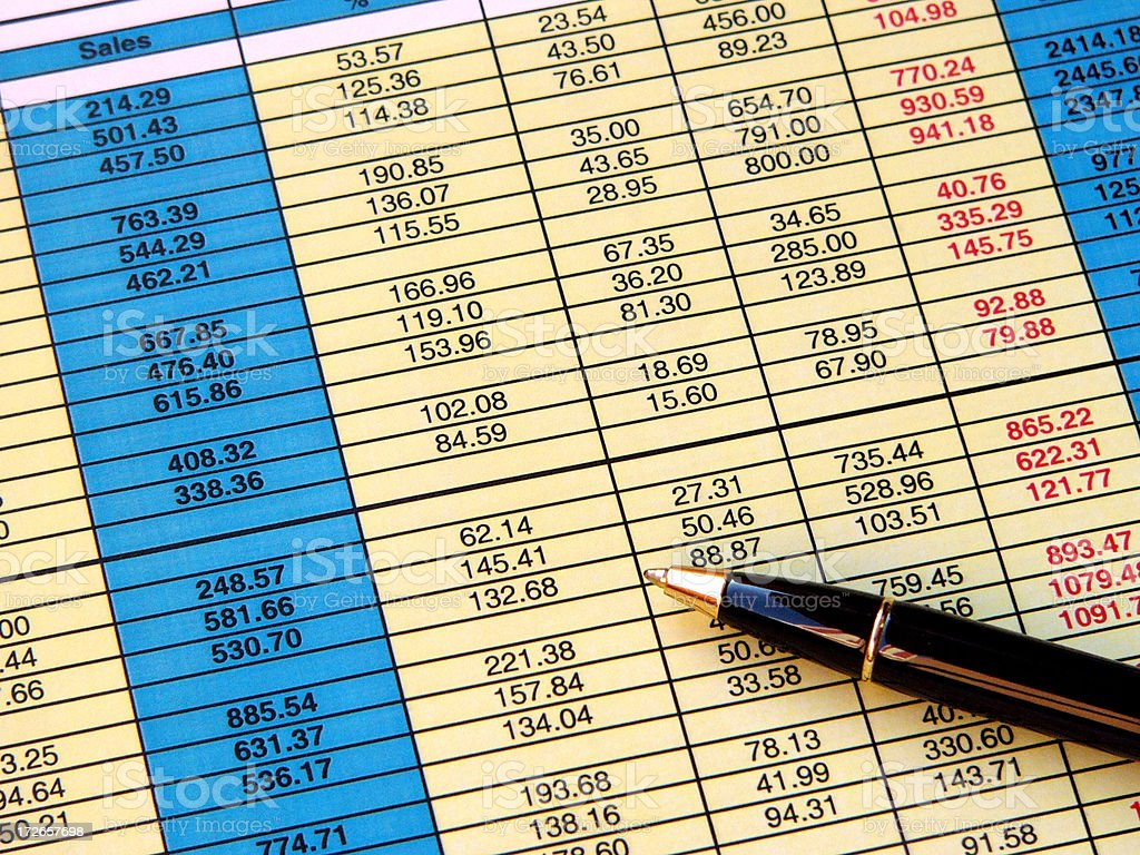 Blue and yellow spreadsheet royalty-free stock photo