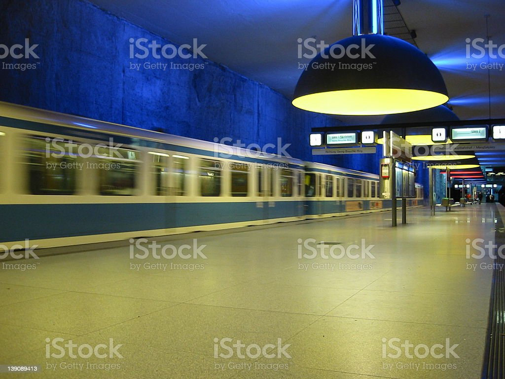 blue and yellow subway station in Germany royalty-free stock photo