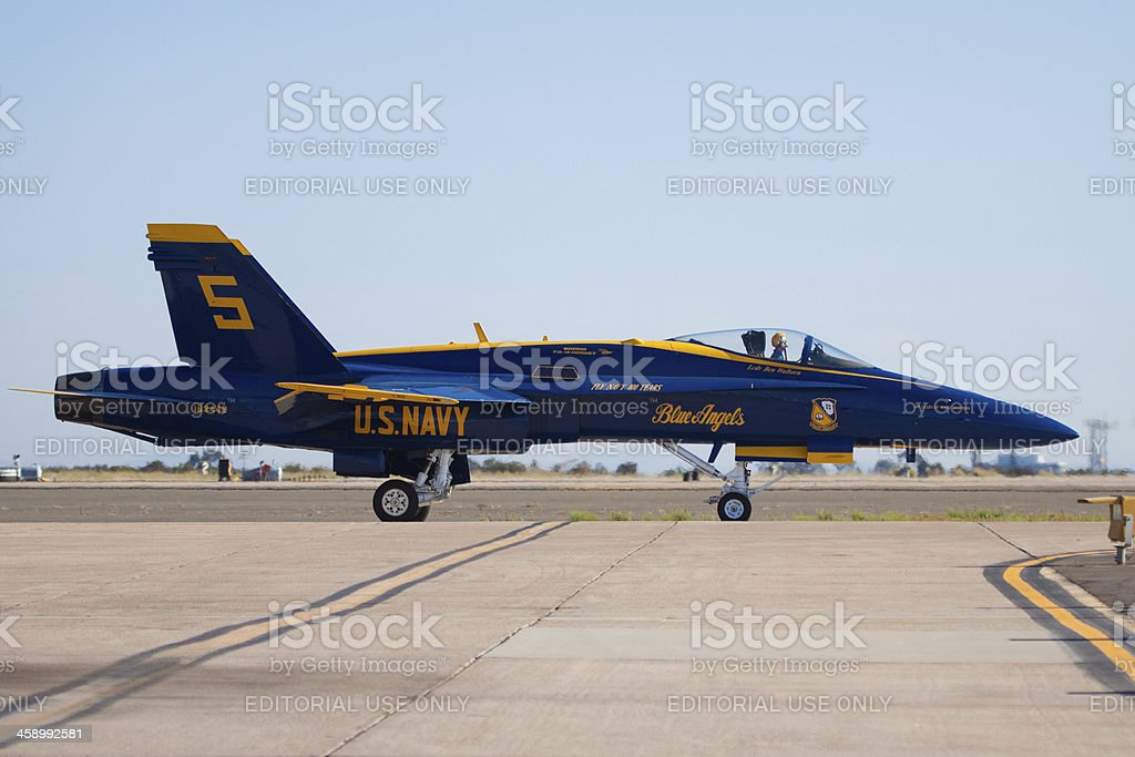 Blue Angel Number 5 Ready for Takeoff royalty-free stock photo