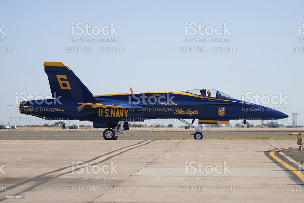 Blue Angel Number 6 Ready for Takeoff royalty-free stock photo