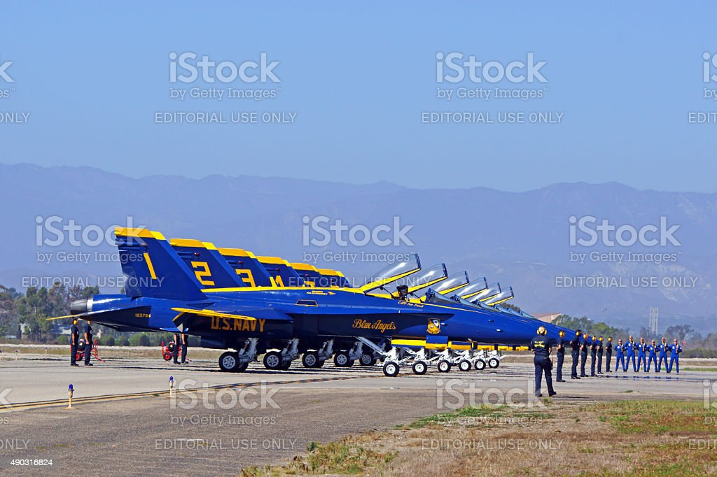Blue Angels F-18 Jets ready for take-off stock photo