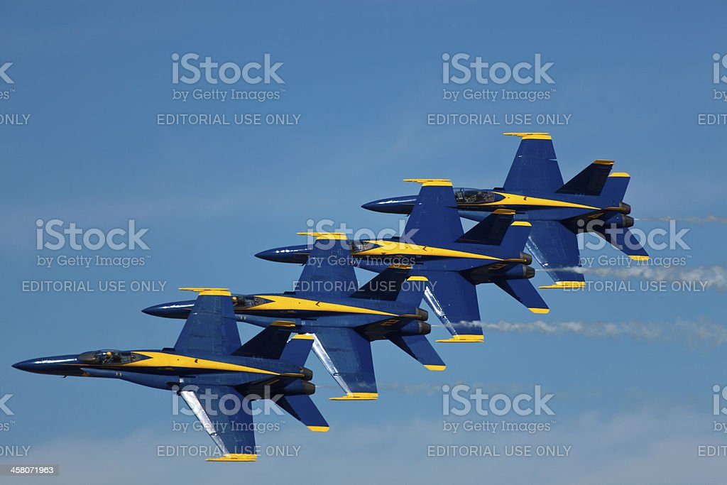 US NAVY Blue Angels flying formation Diamond stock photo