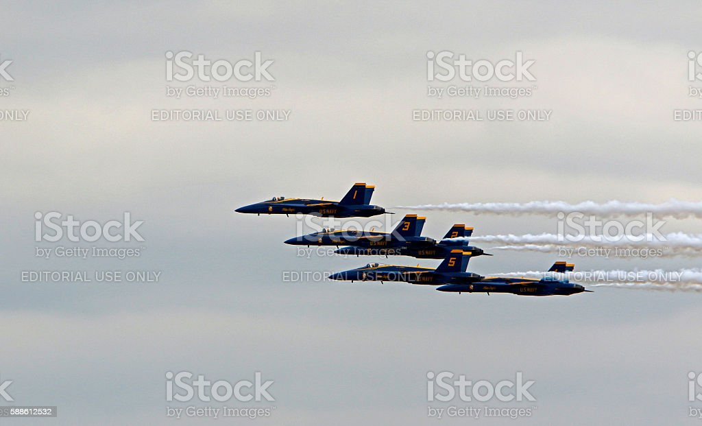 Blue Angels formation stock photo