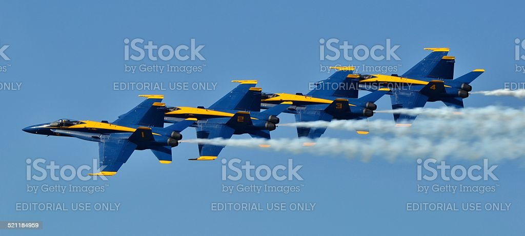 Blue Angels Four-Ship Formation stock photo