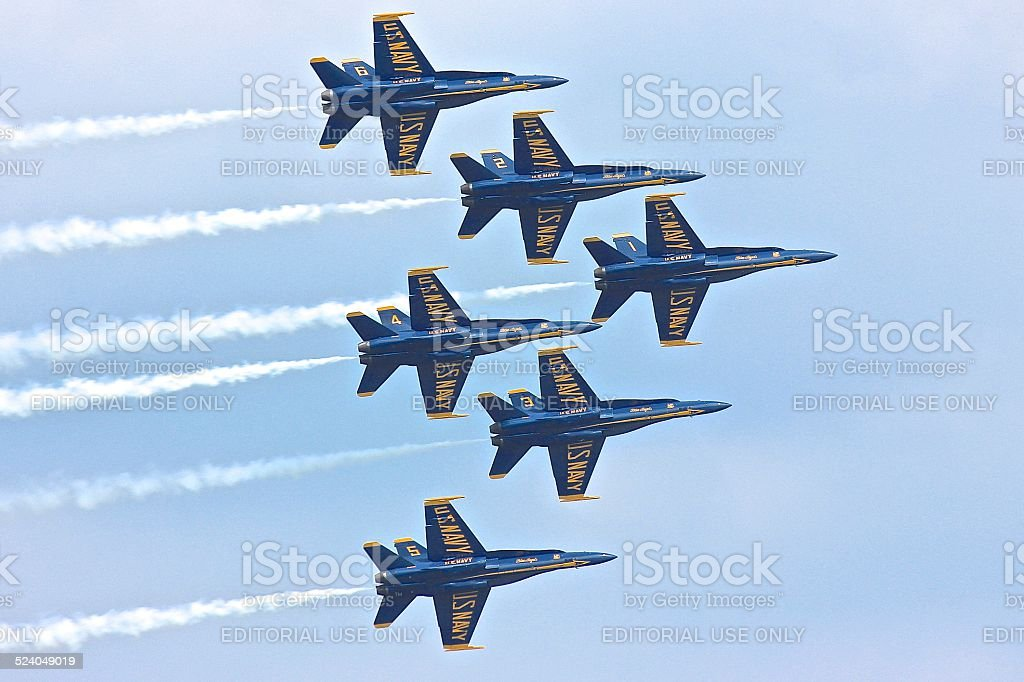 Blue Angels in close flight formation stock photo