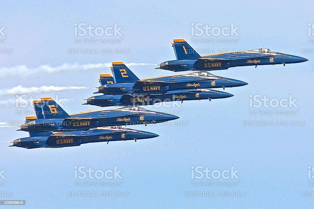 Blue Angels in flight formation stock photo