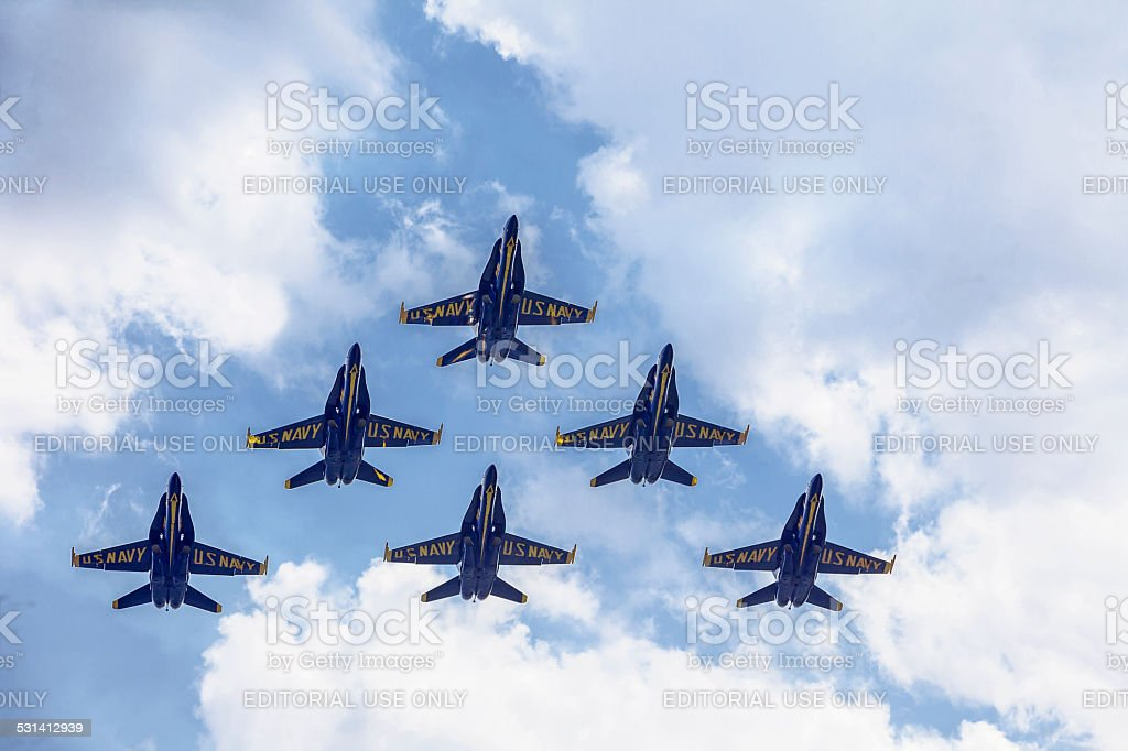 Blue Angels In Formation Flying stock photo