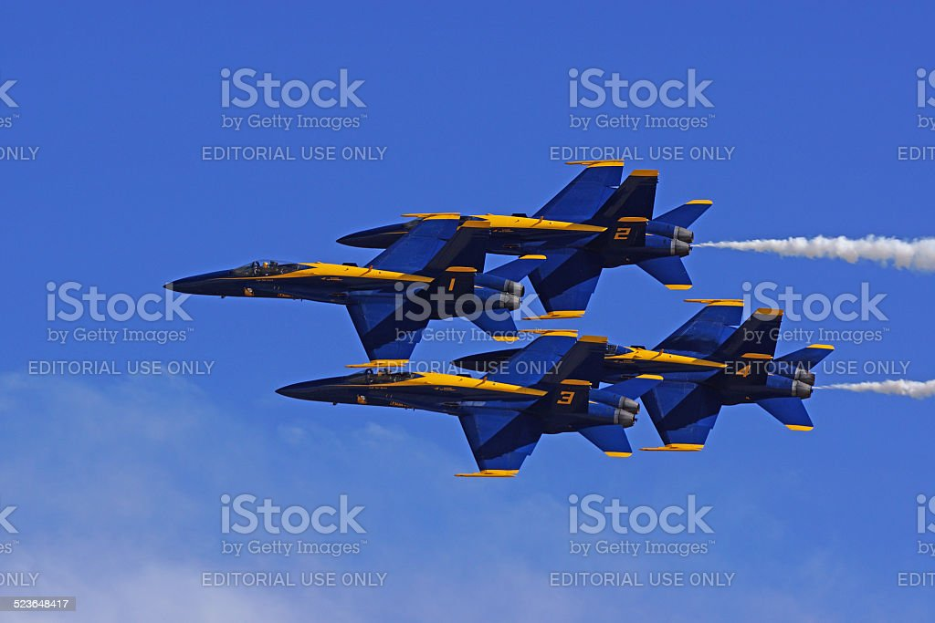 Blue Angels Jet Formation at 2014 Miramar Air Show stock photo