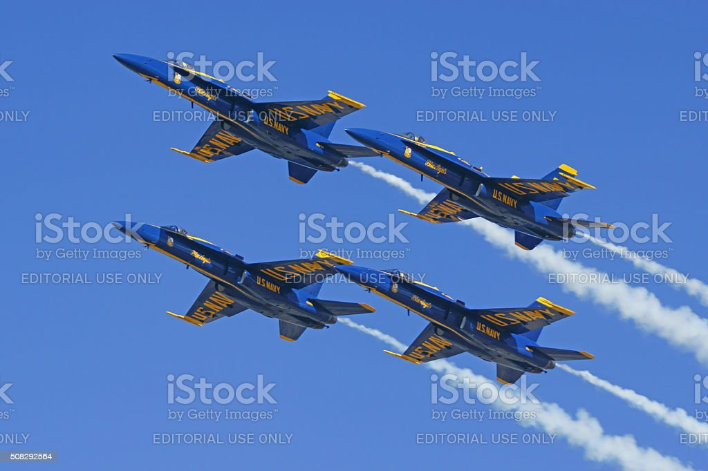 Blue Angels Navy jet fighters stock photo