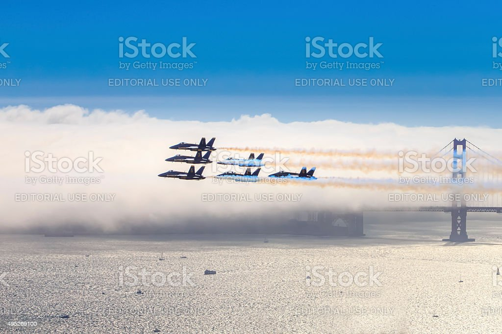 Blue Angels  over Golden Gate Bridge,San Francisco, USA stock photo