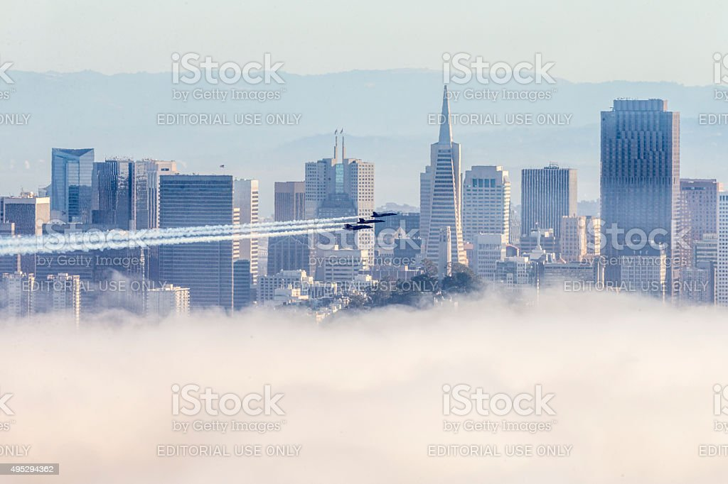 Blue Angels over San Francisco Downtown, USA stock photo