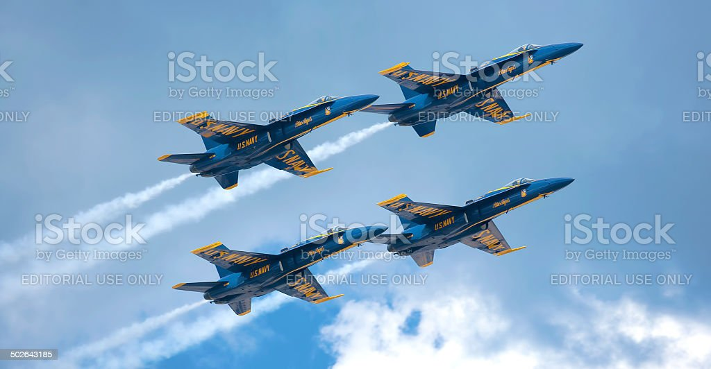 Blue Angels Vapor Trails royalty-free stock photo