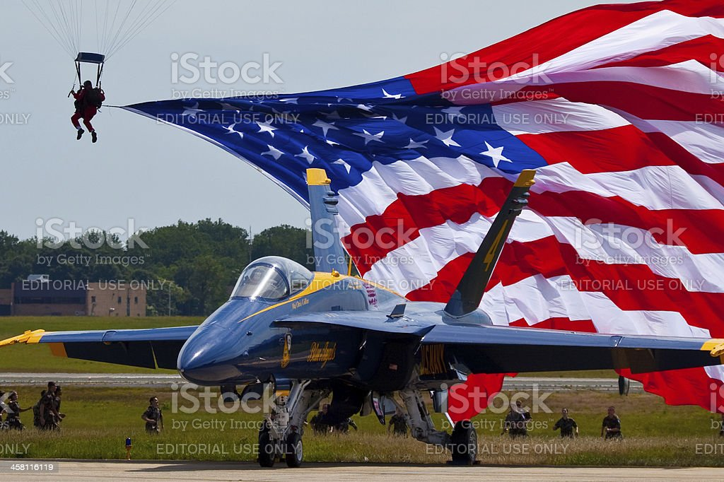 Blue Angels with American Flag in the background stock photo