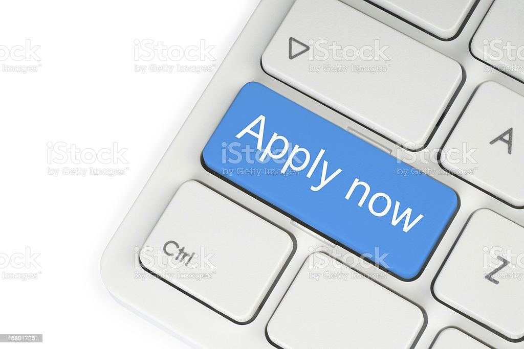 Blue apply now button stock photo