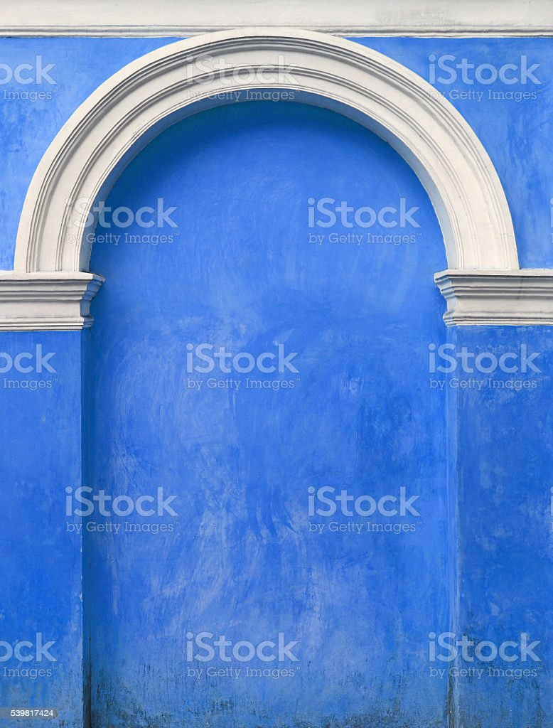 Blue Architectural element an arch in the wall, Immured door stock photo