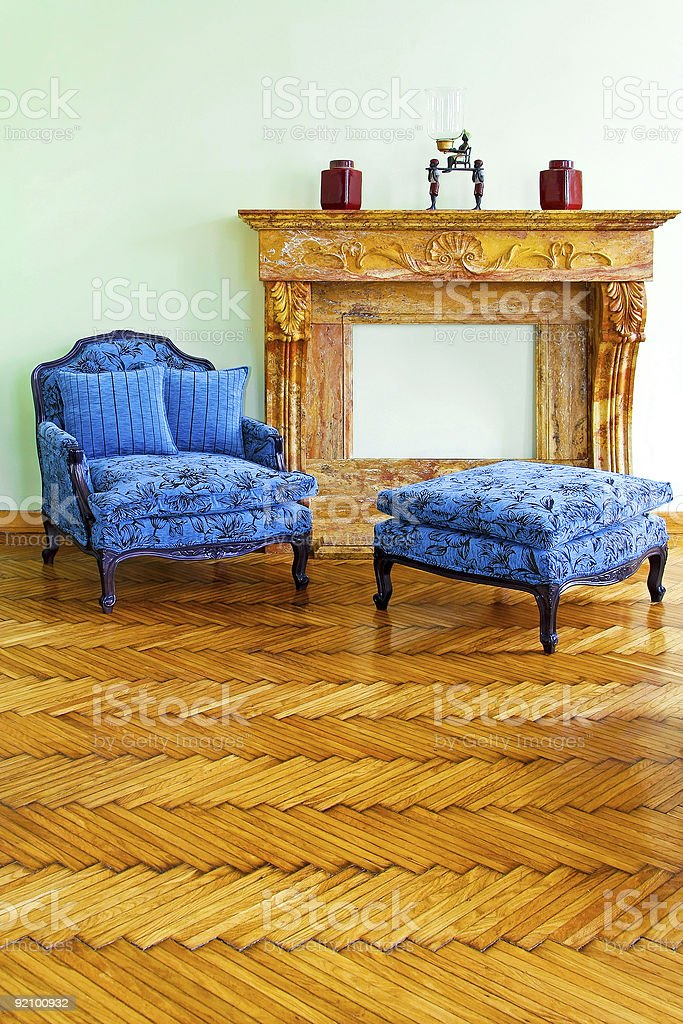 Blue armchair royalty-free stock photo