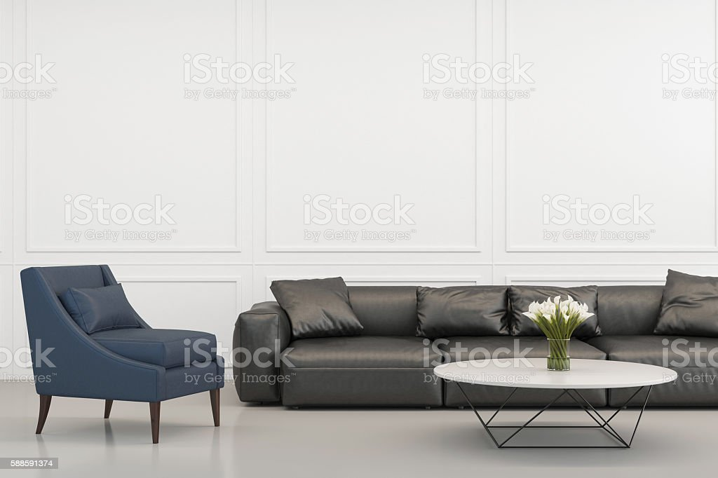 Blue armchair with a sofa in a lobby stock photo