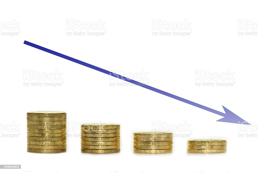 blue arrow and golden coins falling chart stock photo