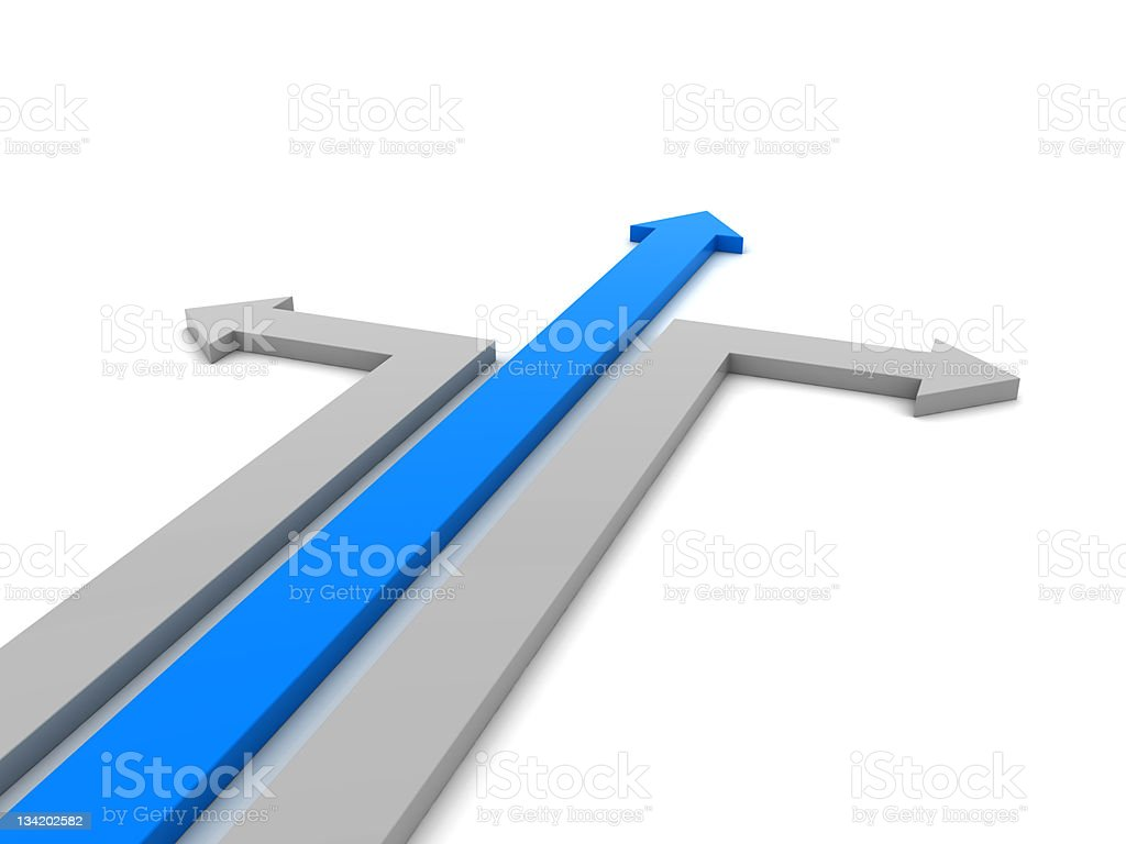 Blue arrow running straight as the two gray arrows turn stock photo