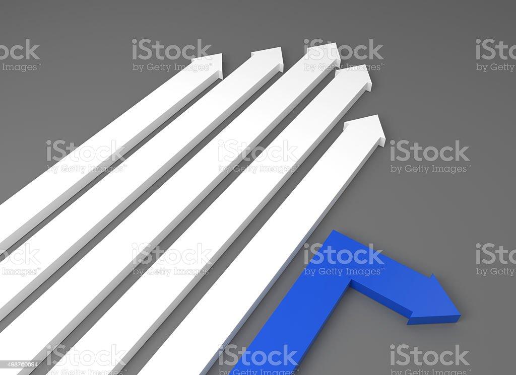 Blue arrow takes a turn stock photo
