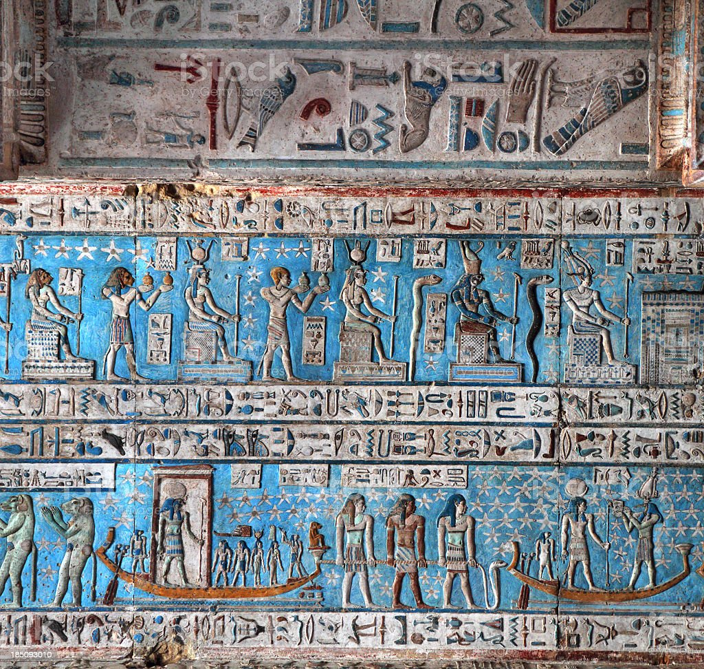 Blue Astronomical Ceiling,Temple of Hathor Dendera, Egypt stock photo