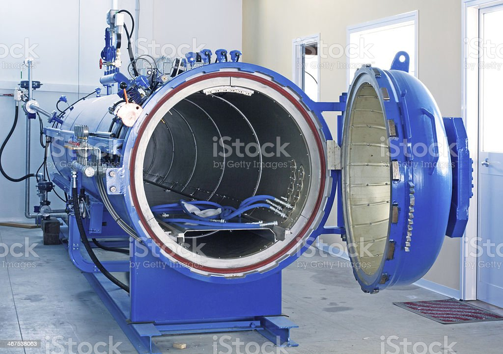 Blue Autoclave for composite materials stock photo