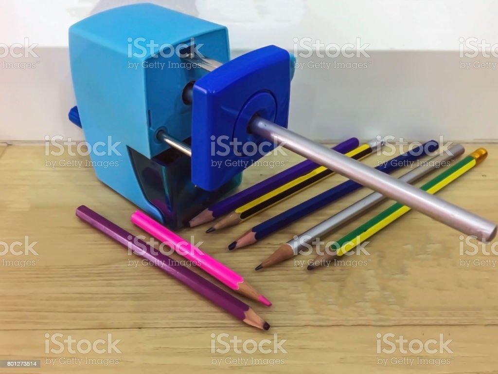 Blue Automatic pencil sharpener stock photo