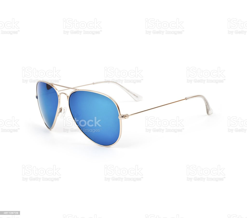 Blue Aviator Sunglasses stock photo