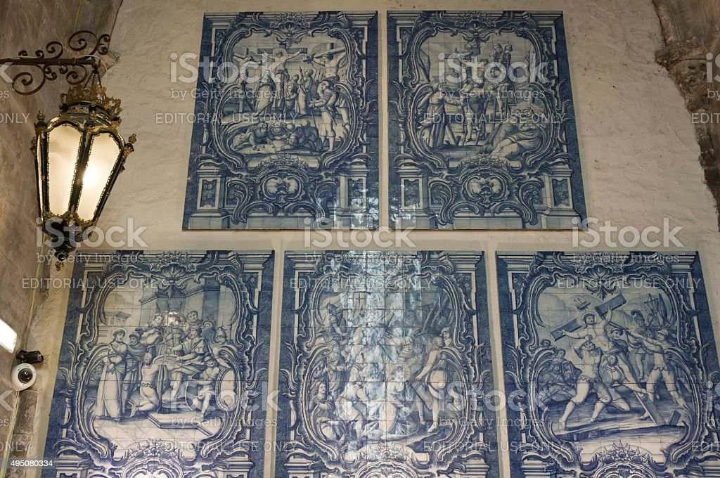 Blue Azulejos tile decoration stock photo